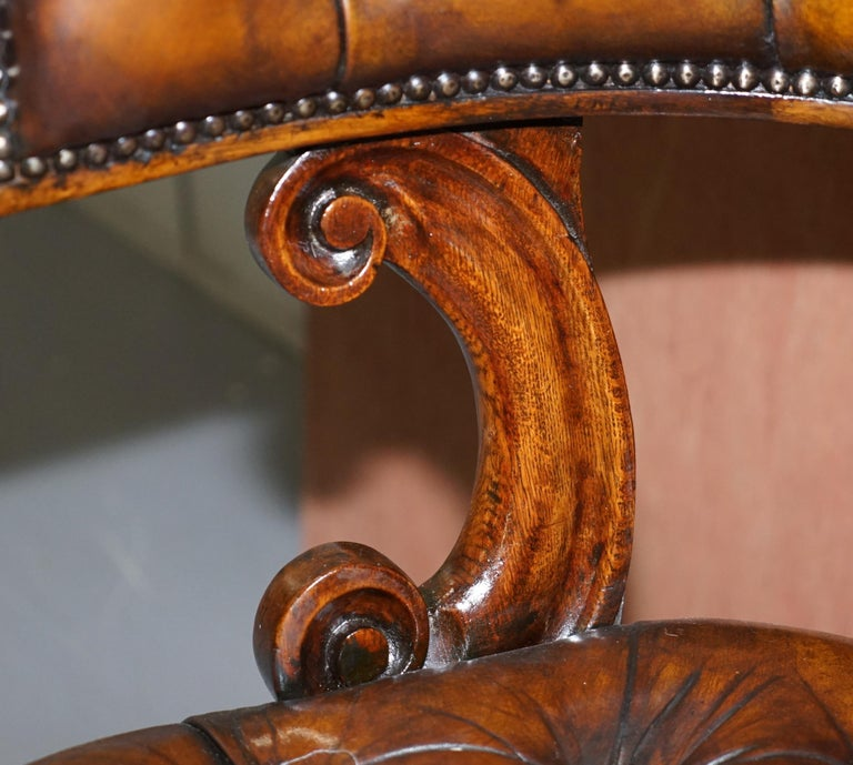 Antique William IV Aged Brown Leather Chesterfield Fully Restored Captains Chair For Sale 3