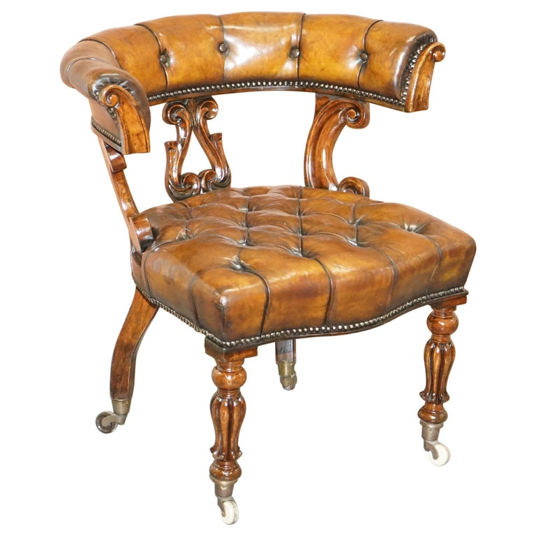 Antique William IV Aged Brown Leather Chesterfield Fully Restored Captains Chair For Sale