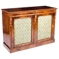Antique William IV Burr Walnut Chiffonier Sideboard 19th Century