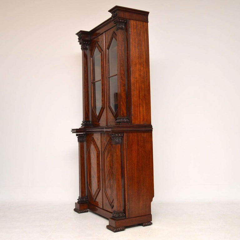 Antique William IV Flame Mahogany Bookcase For Sale 6