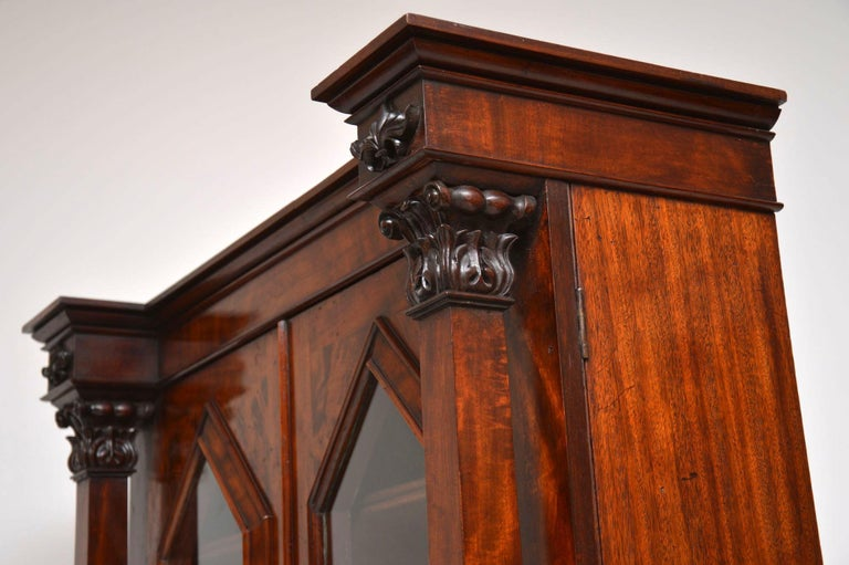 Antique William IV Flame Mahogany Bookcase For Sale 7