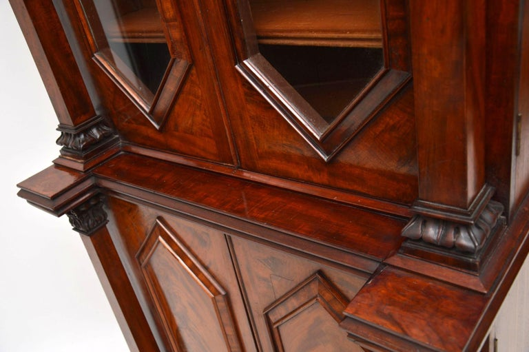 Antique William IV Flame Mahogany Bookcase For Sale 8