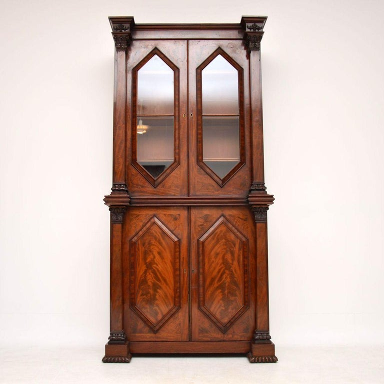 English Antique William IV Flame Mahogany Bookcase For Sale
