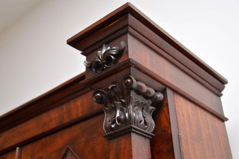 Mid-19th Century Antique William IV Flame Mahogany Bookcase For Sale