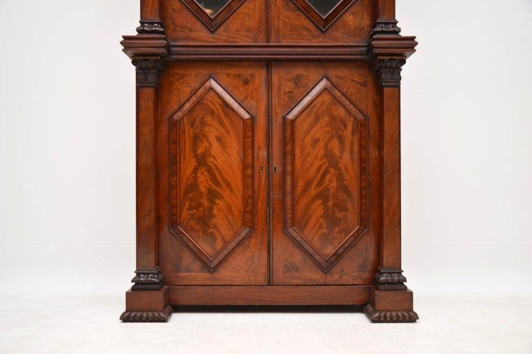 Antique William IV Flame Mahogany Bookcase For Sale 1