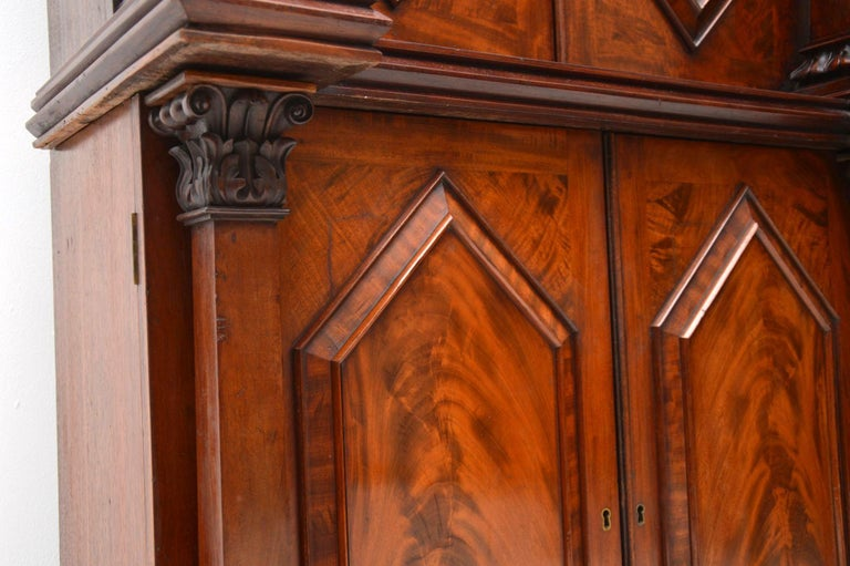 Antique William IV Flame Mahogany Bookcase For Sale 2