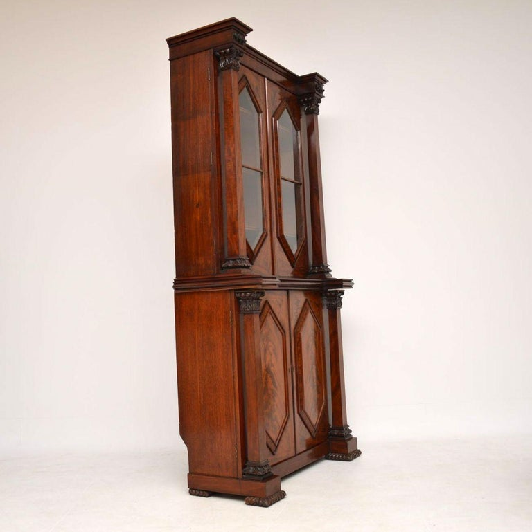 Antique William IV Flame Mahogany Bookcase For Sale 3