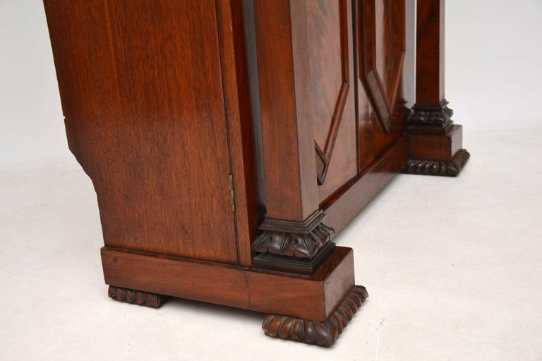 Antique William IV Flame Mahogany Bookcase For Sale 4