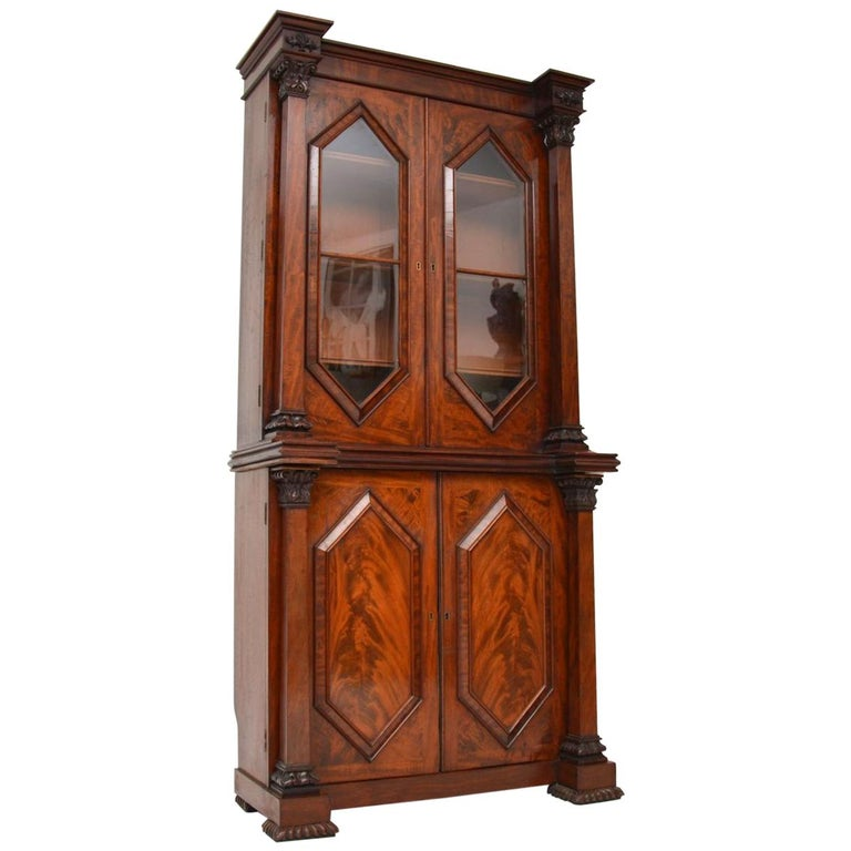 Antique William IV Flame Mahogany Bookcase For Sale