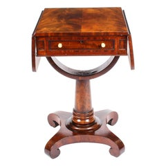 Antique William IV Flame Mahogany Drop-Leaf Work Table, 19th Century