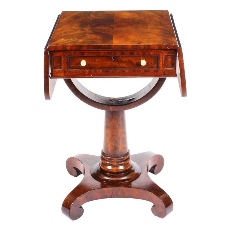 Antique William IV Flame Mahogany Drop-Leaf Work Table, 19th Century For Sale