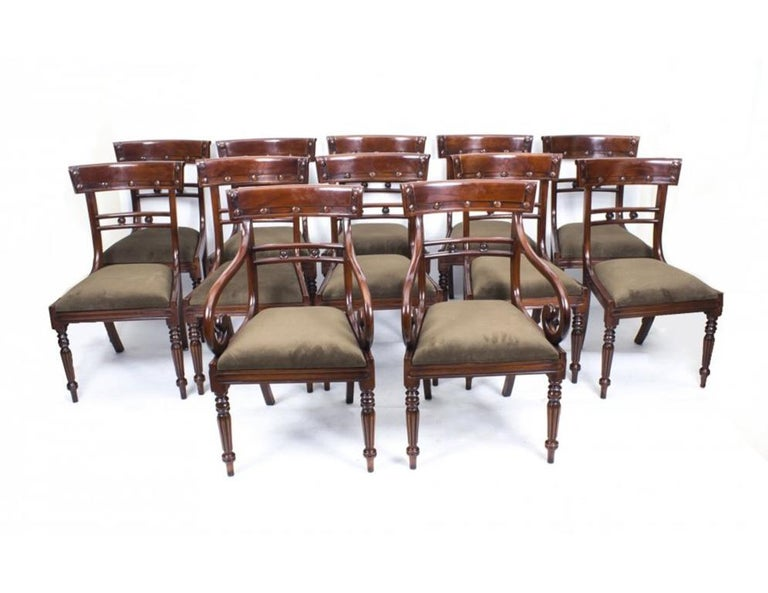 Antique William IV Mahogany Dining Table and 10 Chairs, 19th Century 7