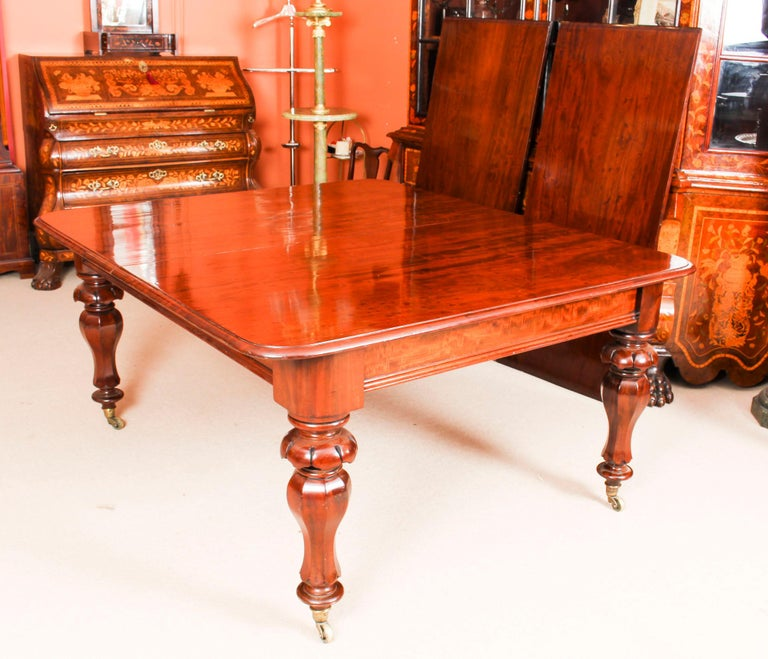 Fabric Antique William IV Mahogany Dining Table and 10 Chairs, 19th Century