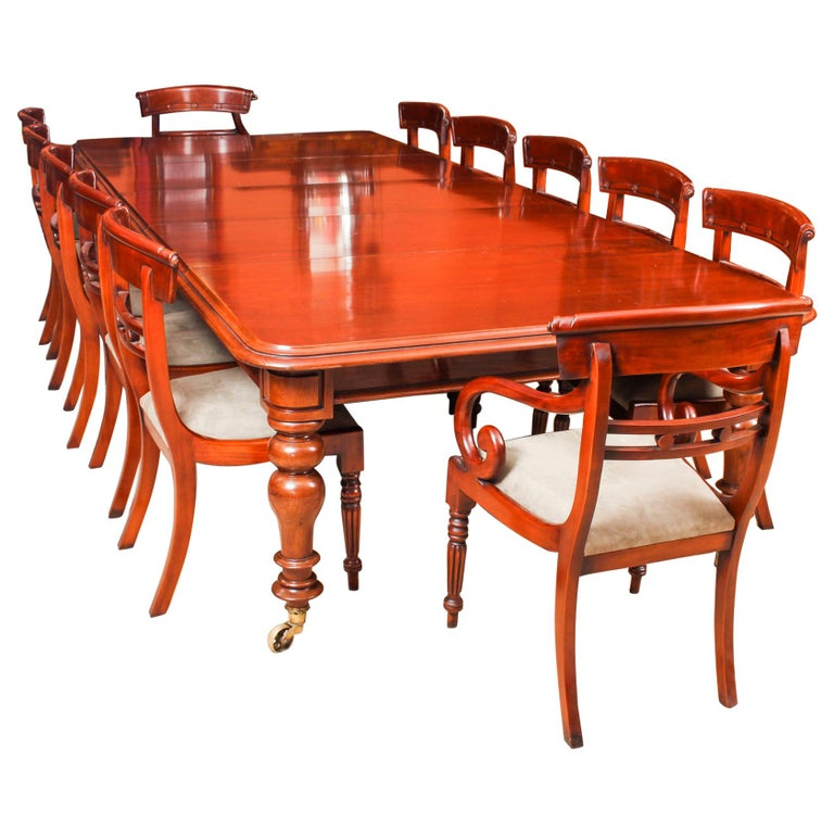 Antique William IV Mahogany Dining Table and 12 Bar Back ...