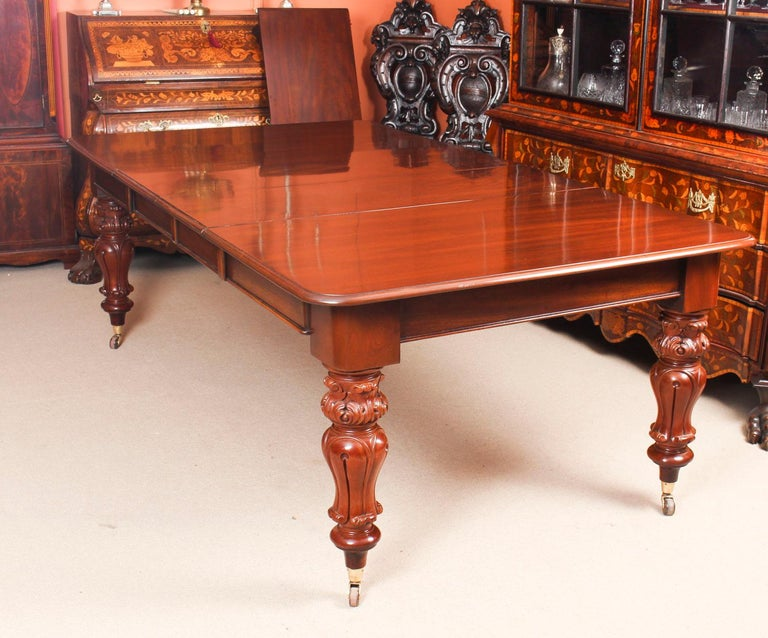 Damask Antique William IV Mahogany Dining Table 19th Century & 12 Dining Chairs