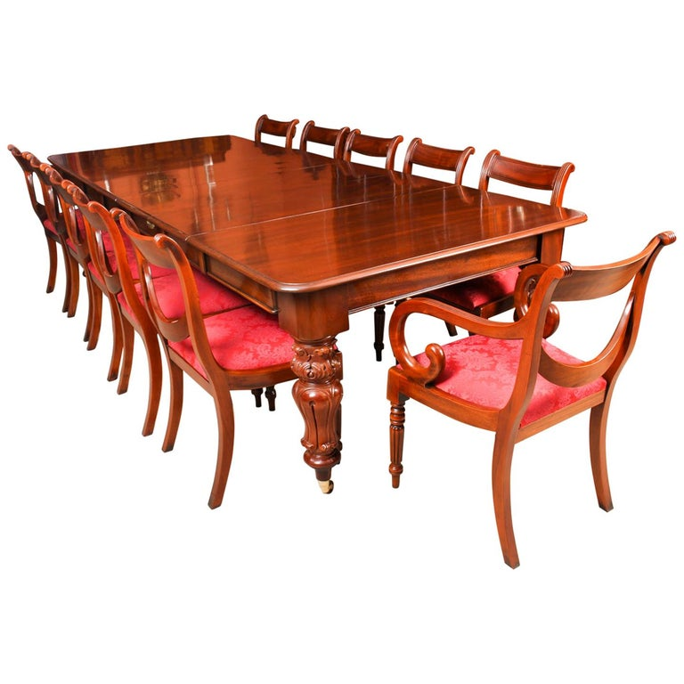 Antique William IV Mahogany Dining Table 19th Century & 12 Dining Chairs
