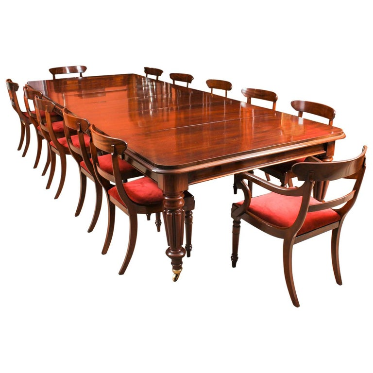 Antique William IV Mahogany Dining Table And 12 Bar Back