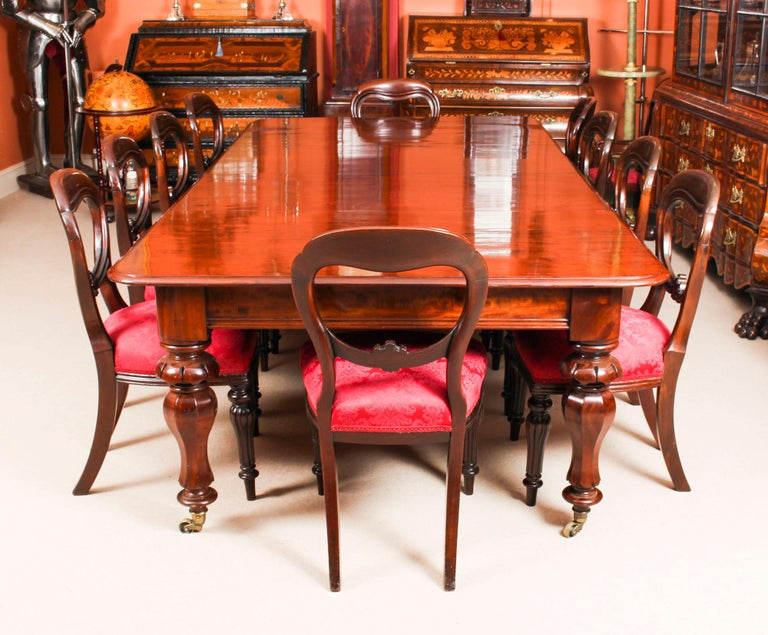 Antique William Iv Mahogany Dining Table Set 10 Chairs 19th Century