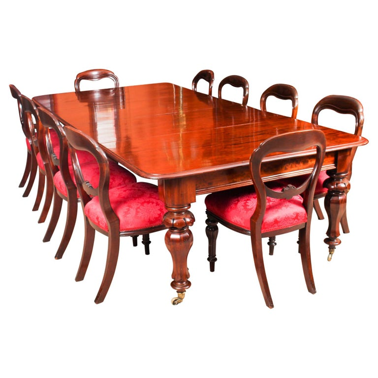 Antique William iv Mahogany Dining Table & Set 10 Chairs, 19th Century