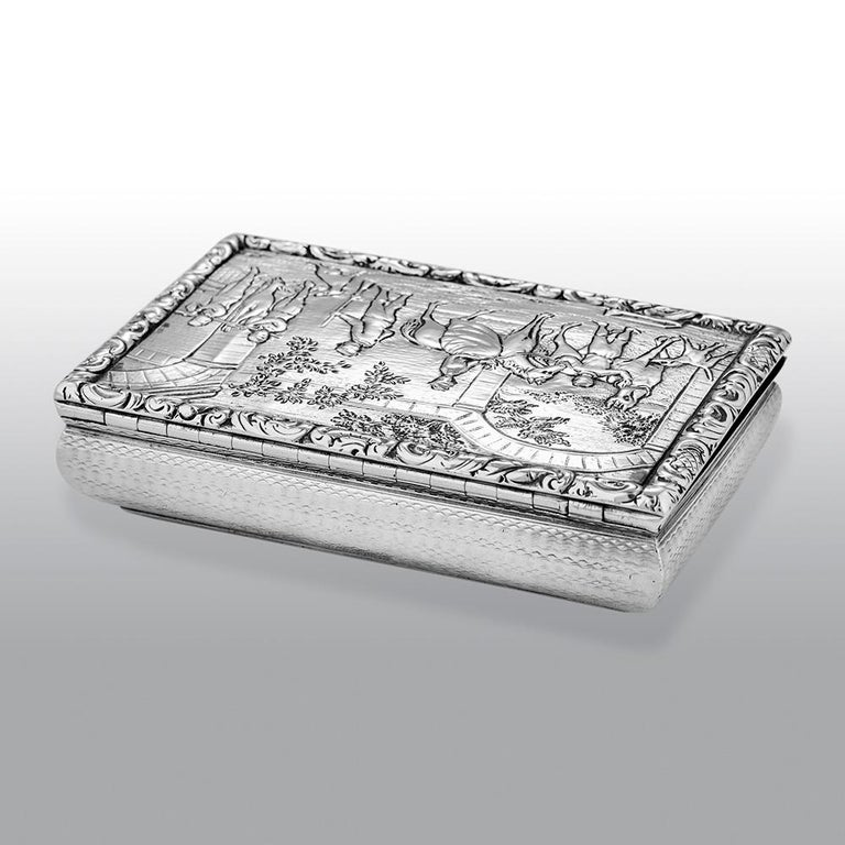 Embossed Antique William IV Scottish Sterling Silver Snuff Box James Naismith For Sale