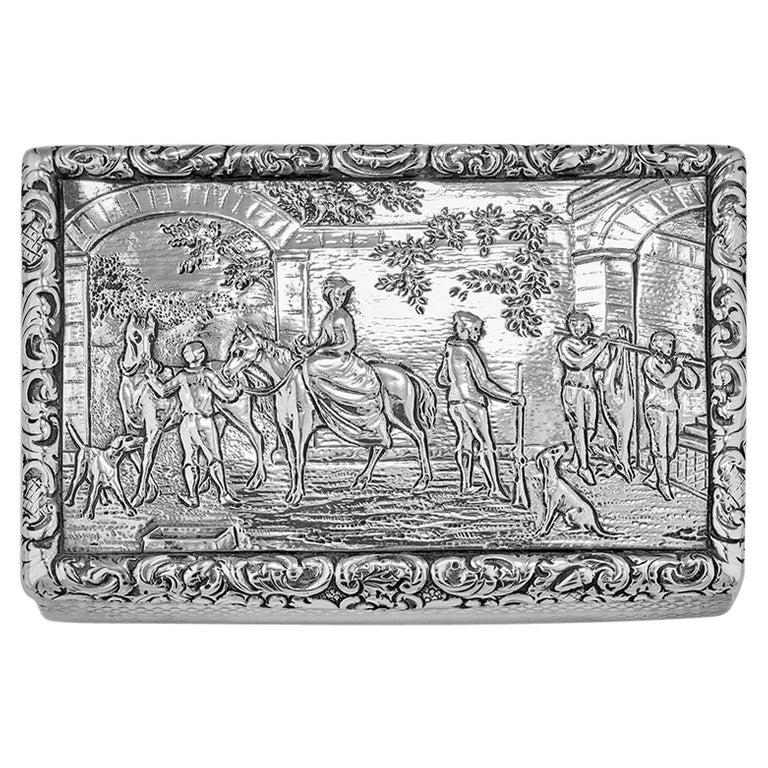 Antique William IV Scottish Sterling Silver Snuff Box James Naismith For Sale
