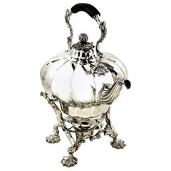 Antique William IV Sterling Silver Kettle on Stand 1836 Melon Pattern