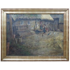 Antique William Krause German Baurenhof Farm Landscape Oil Painting on Canvas