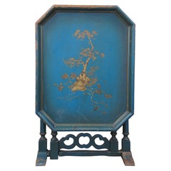 Antique William & Mary Style Chinoiserie Blue Gateleg Flip Top Side Tea Table