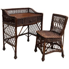 Antique Willow Desk and Chair