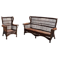 Antique Willow Wicker Sofa and Chair