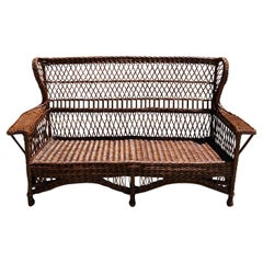 Antique Willow Wicker Sofa