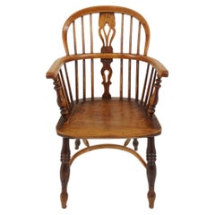Antique Windsor Arm Chair, Country Chair, Elm + Yew, Scotland, 1850