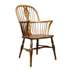 Antique Windsor Armchair, English, Victorian, Country Kitchen Stick, circa 1900