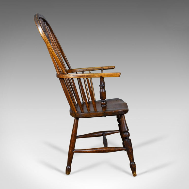 Antique Windsor Armchair English, Victorian, Stick Back, Elbow Chair, circa 1860 In Good Condition For Sale In Taunton, GB