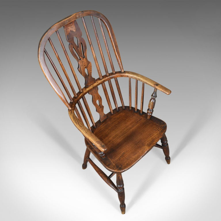 Elm Antique Windsor Armchair English, Victorian, Stick Back, Elbow Chair, circa 1860 For Sale