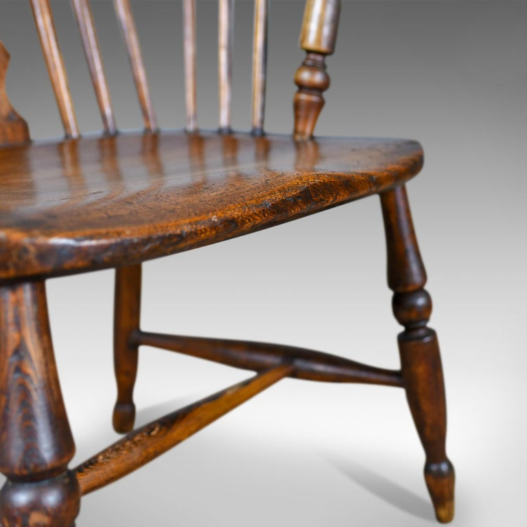 Antique Windsor Armchair English, Victorian, Stick Back, Elbow Chair, circa 1860 For Sale 3
