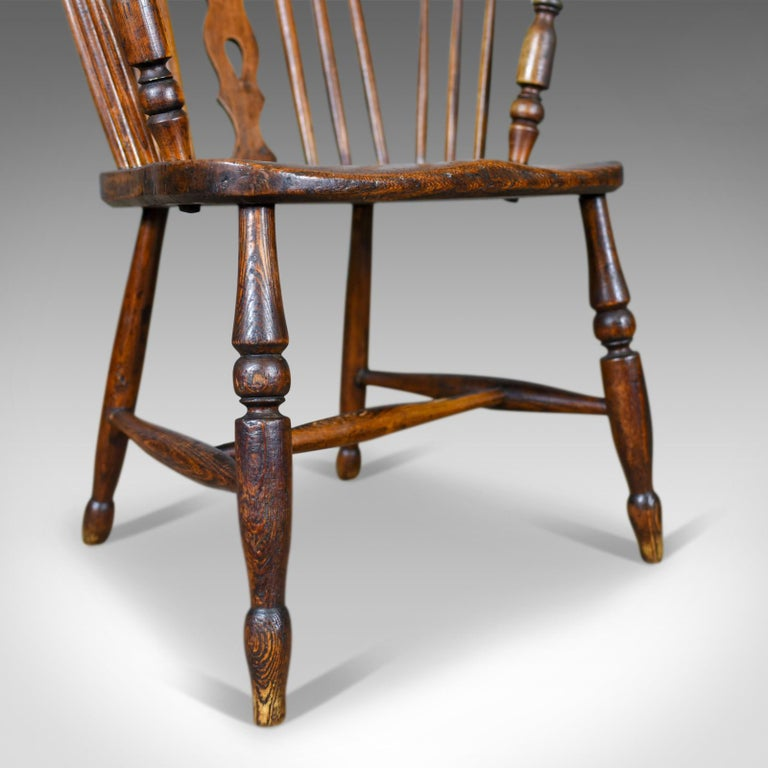 Antique Windsor Armchair English, Victorian, Stick Back, Elbow Chair, circa 1860 For Sale 4