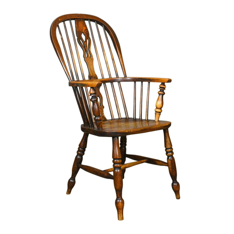 Kitchen Chairs For Sale: Antique Windsor Armchair, Victorian Country Kitchen Stick