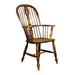 Antique Windsor Armchair, Victorian Country Kitchen Stick Back Elbow, circa 1850
