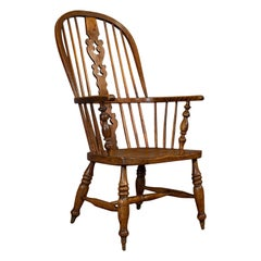 Antique Windsor Chair, British, Elm, Ash, Elbow, Armchair, Victorian, circa 1860