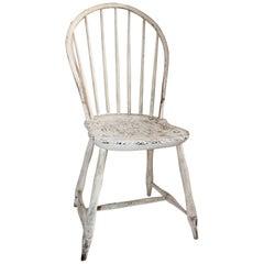 Antiker Windsor Stuhl in Originaler Weiß Bemalter Oberfläche