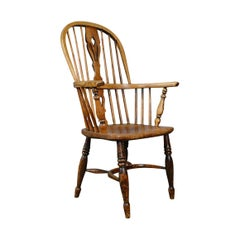 Antique Windsor Elbow Chair, Victorian Double Hoop Armchair, Elm, Ash