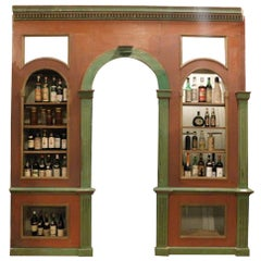 Antique Wine Cellar Furniture, in Two Wall Bodies, Red/Green Wood, Library, 1800