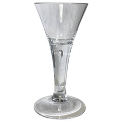 Antique Wine Drinking Glass With Air Bubble, 18th Century