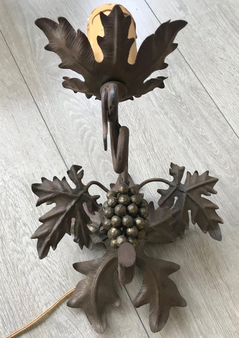Antique Wine Theme Wall Lamp/Sconce with Wrought Iron Bunch of Grapes & Leafs For Sale 3