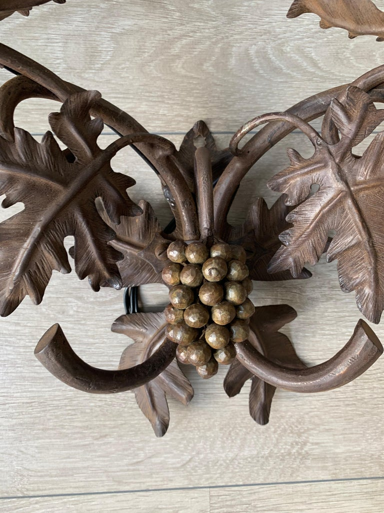 Antique Wine Theme Wall Lamp / Sconce with Wrought Iron Bunch of Grapes & Leafs For Sale 3