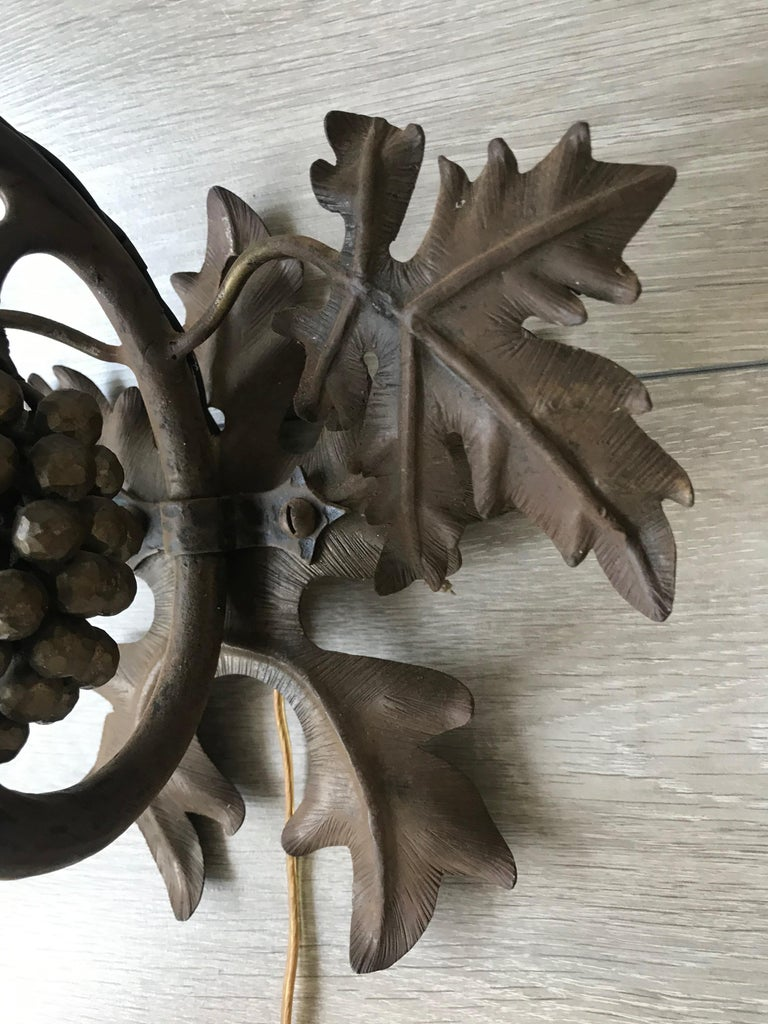 Antique Wine Theme Wall Lamp/Sconce with Wrought Iron Bunch of Grapes & Leafs For Sale 4