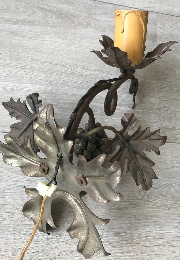 Antique Wine Theme Wall Lamp/Sconce with Wrought Iron Bunch of Grapes & Leafs For Sale 6