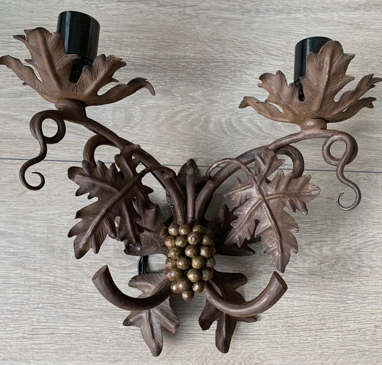 Antique Wine Theme Wall Lamp / Sconce with Wrought Iron Bunch of Grapes & Leafs For Sale 6