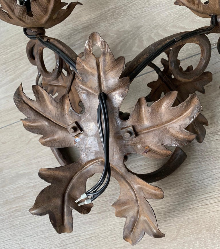 Antique Wine Theme Wall Lamp / Sconce with Wrought Iron Bunch of Grapes & Leafs For Sale 8